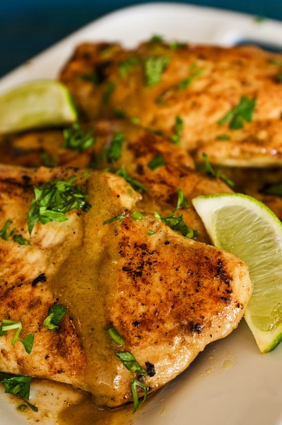Lime & Coconut Chicken. This recipe is incredible. The combination of spices, fresh lime, cilantro, and coconut milk give this dish tons of flavor, and it's super easy to make!! Plus, it only has to marinate for 2 hours, so you don't have to stress over making it a day in advance! YUM. pinterest success for sure!! #chicken #lime #coconut