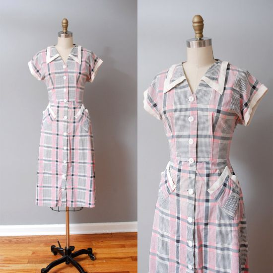 1940s Dress  Pink Plaid Picnic 40s Day Dress by OldFaithfulVintage, $70.00