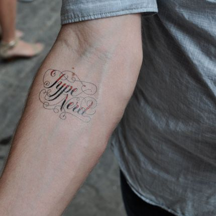 "Type Nerd ""Tattly"" temporary tattoo, designed by Jessica Hische."