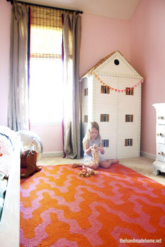 handmade doll house - great DIY idea + a really cute big girl room reveal.