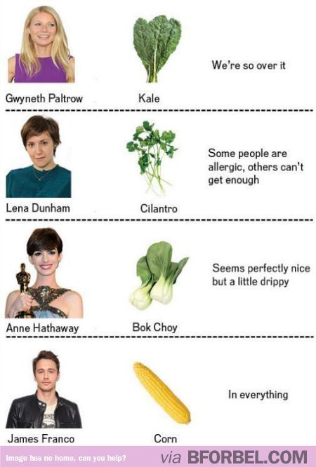 Celebrities and our vegetable feelings about them