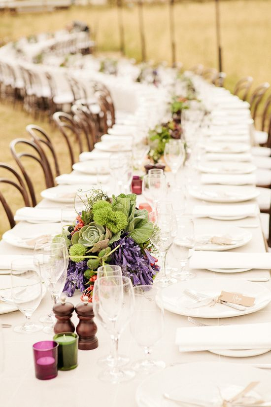 long + rustic reception table