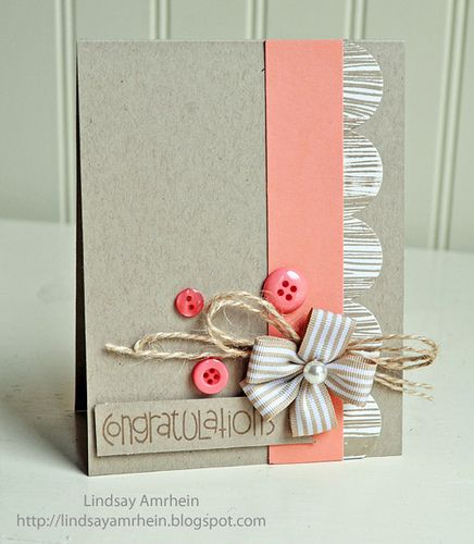 Such a sweet, cheerful, elegantly lovely card design. #simple #card #scrapbooking #handmade #card_making #buttons #pink #coral #kraft #twine
