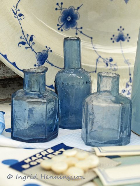 Three Blue Vintage Ink Bottles