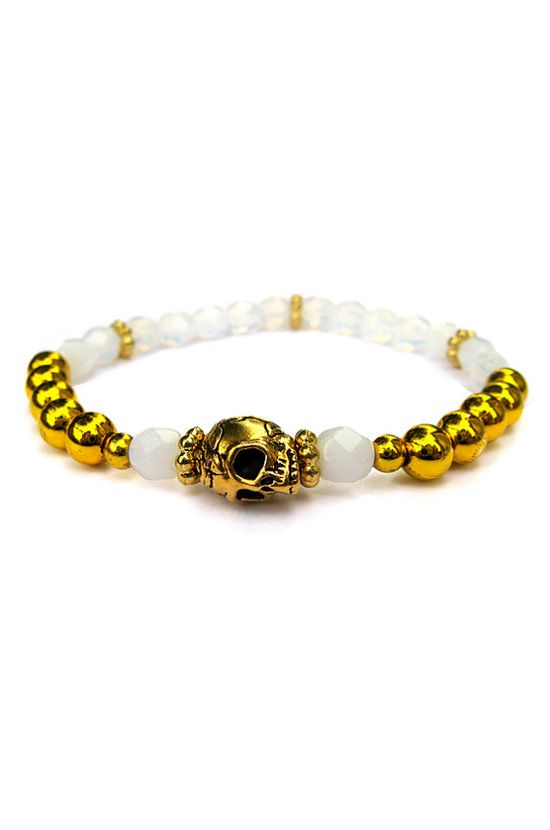 Amber Arm Candy Gold Skull Bracelet White Stretch Bracelet Beaded Bracelet Bangle Quirky Arm Candy