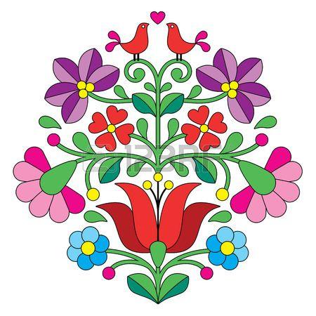 Kalocsai broderie motif floral folklorique hongroise avec des oiseaux Banque…