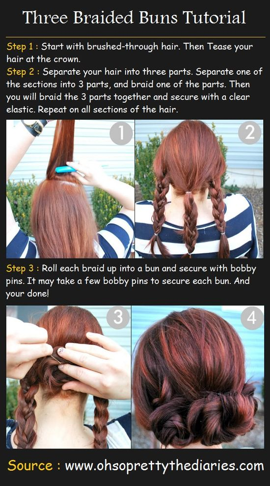 Three Braided Buns Tutorial