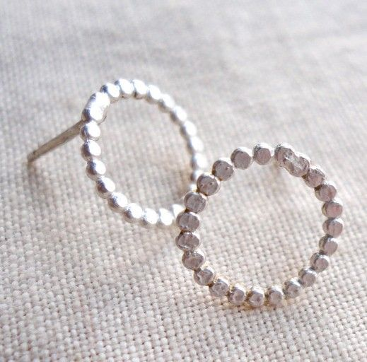 bright sterling silver dotted circle studs  by anotherfeather - etsy