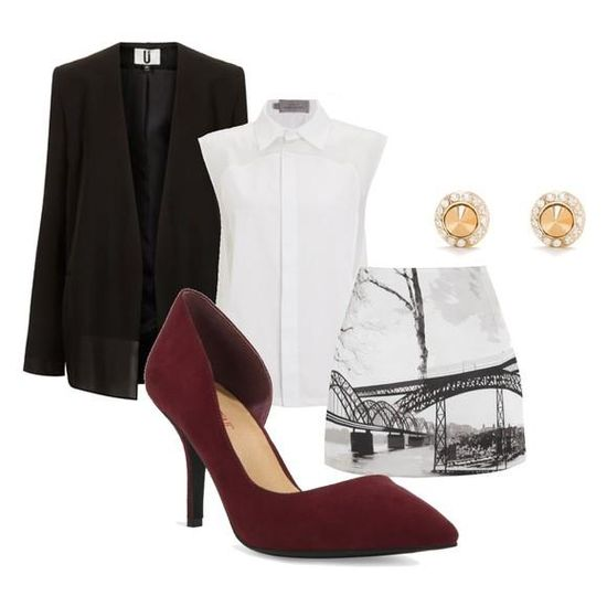 Give your outfit a hint of sophistication with a gorgeous burgundy d'orsay pump.