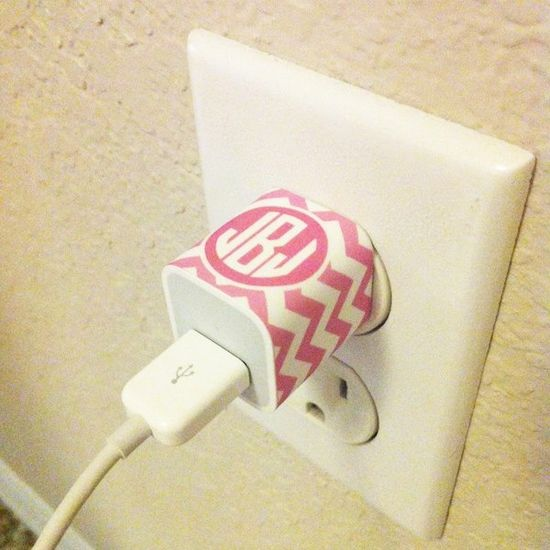 Free Printables: Monogrammed iPhone Charger Labels.