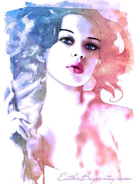 Watercolor Mixed Media Fashion Illustration Fine Art Print. $32.50, via Etsy.