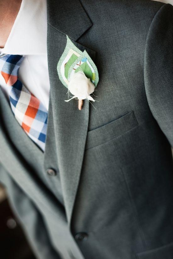 Handmade Fabric Flower Grooms Buttonhole