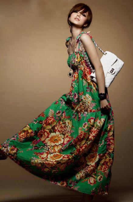 Floral Green Strap Maxi Dress $10.99