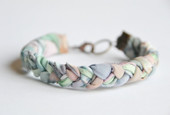 Fabric and suede bracelet. Pastel fabric braided with mint suede. Mint, rose, sky blue colors. Copper findings. Small Size.. $22.00, via Etsy.