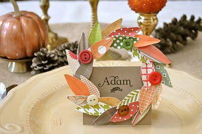 leaf wreath name card