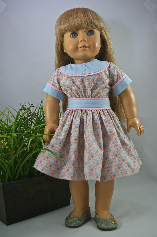 American Girl 18 inch doll dress Easter spring pink blue butterfly print cotton dress with piping. $12.00, via Etsy.
