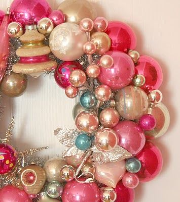 Pink vintage Christmas ornaments with silver & aqua wreath
