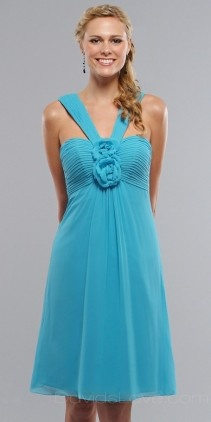 Sweetheart Tea Length Chiffon Bridesmaid Dress. BLUE(: