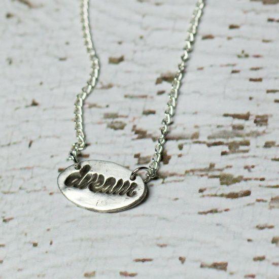 Dream Word Necklace Silver Jewelry Delicate by HausofAriella, $22.00