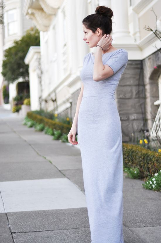 Long fitted knit maxi dress tutorial
