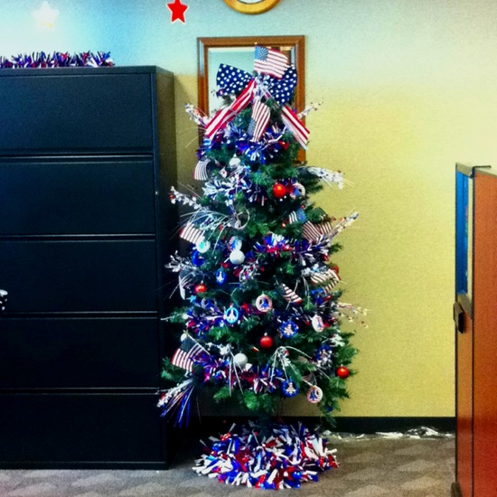Patriotic Tree at work. Decorated for memorial day and will be up until the 4th of July.