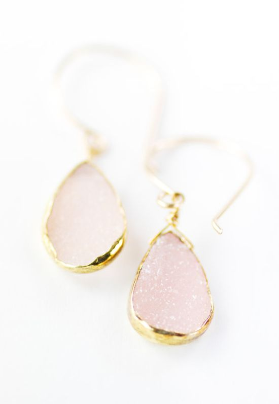 Kainehe earrings pink druzy gold earrings gold by kealohajewelry