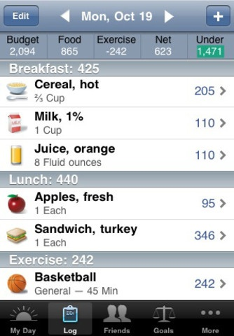 Lose It by FitNow: iPhone App with bar code scanning.