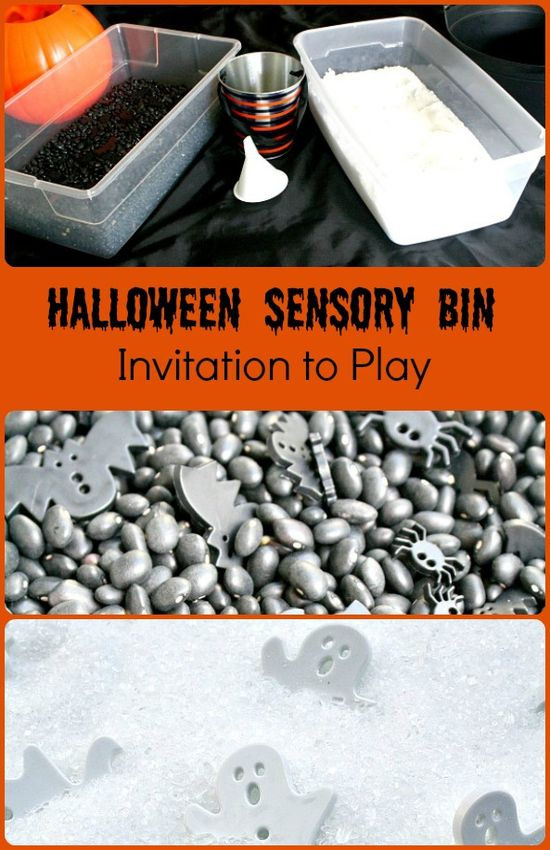 Black and White Halloween Sensory Bins