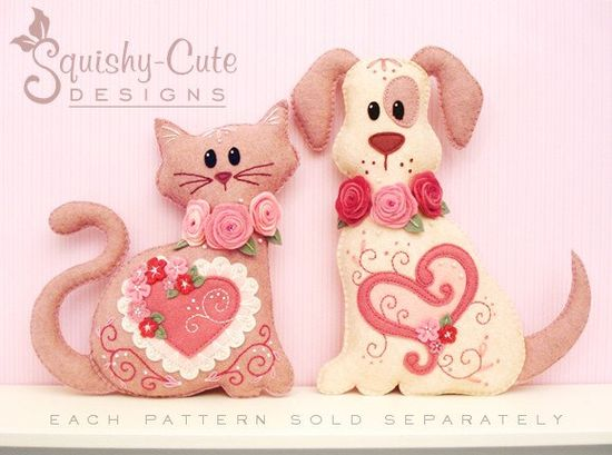 Cat Stuffed Animal Pattern - Felt Plushie Sewing Pattern & Tutorial - Lacey the Valentine Cat - Embroidery Pattern PDF. via Etsy.