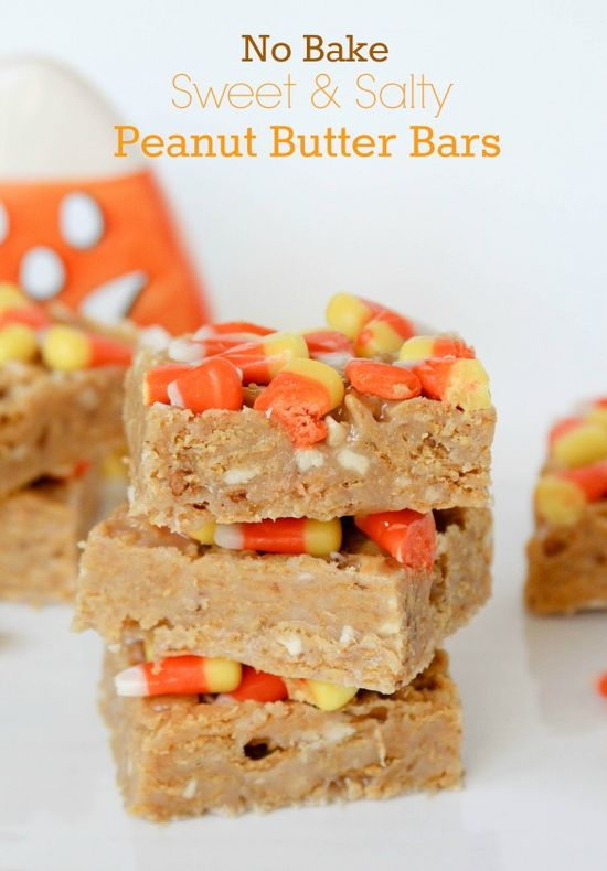 No Bake Sweet and Salty Bars. Plus, candy corn! I'm in.