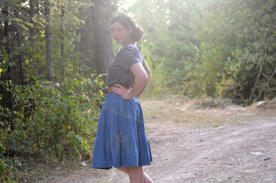 Mmm, makes me think of sping... :)  Gathered Jean Skirt - Womens Long Denim Tired Skirt - Ready to Ship. $55.00, via Etsy.