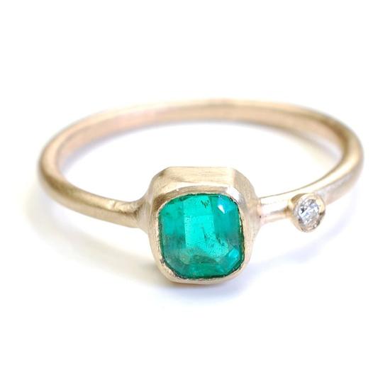 Emerald Ring, Diamond Ring, Emerald and Diamond Ring, Gold Emerald Ring, Emerald Cut, Gold, OOAK, Nixin.