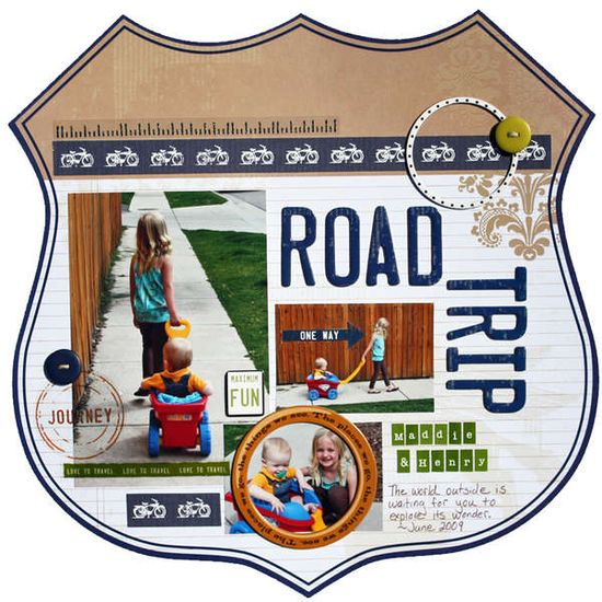 #papercraft #scrapbook #layout    Road Trip-scrapbook page, idea for a travel page