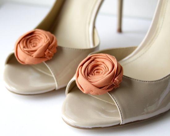 A touch of sunset orange. Rosette Shoe Clips Made to Order 1.5 inches. $28.00.