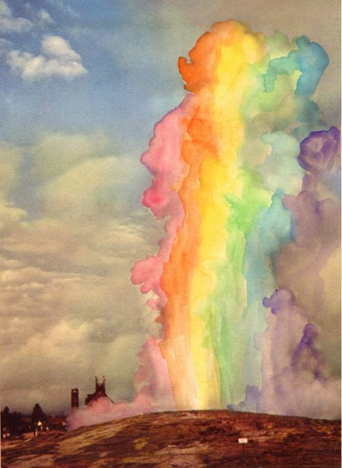 watercolor rainbow clouds