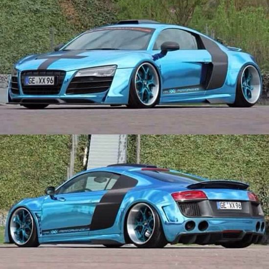 Chrome wrapped baby blue Audi R8 #nice#car#awesome!!