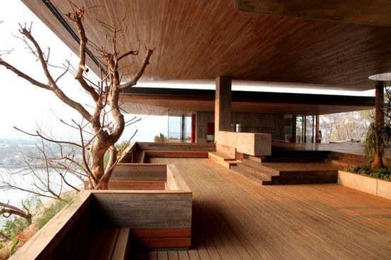 modern wood floor and ceiling