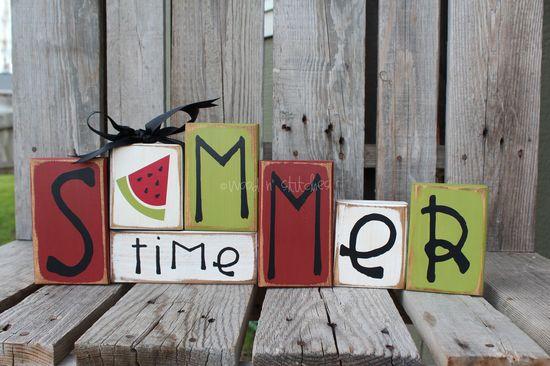 Summer watermelon  Wood Block Set Seasonal Home Decor Primitive Seasonal Gift Birthday AmericanaSign. $26.95, via Etsy.  Nice and summer festive!