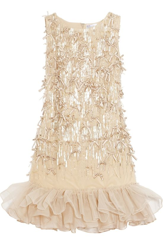 Valentino Embellished Gold Tulle Dress