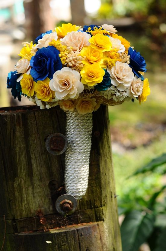 Royal Blue  and Yellow Wooden Bouquet for Wedding and Home Decor Centerpiece. $70.00, via Etsy.