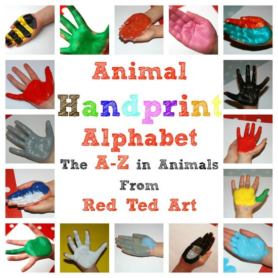 Charming handprint animal alphabet set from www.RedTedArt.com
