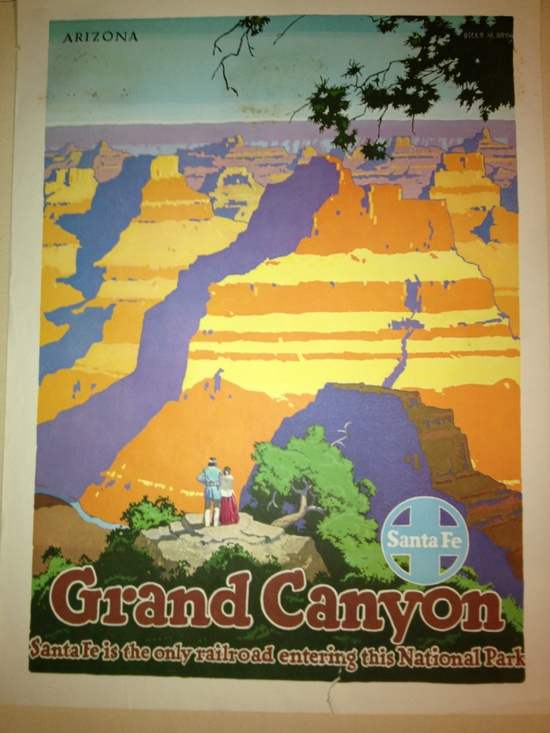 Grand Canyon Sante Fe Arizona - Original Vintage Poster. $180.00, via Etsy.
