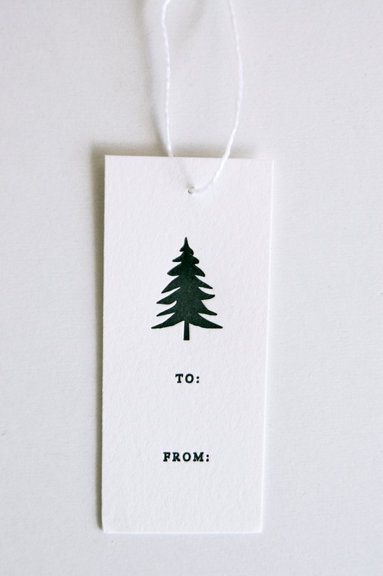 evergreen letterpress gift tags