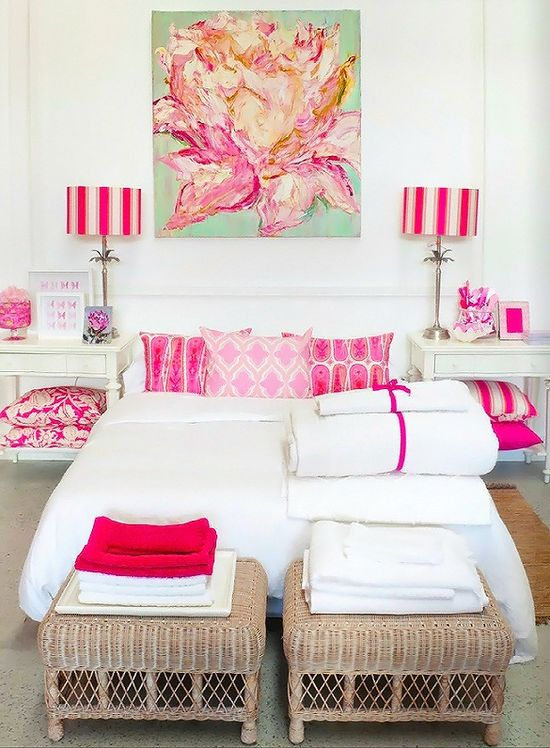 Pretty bedroom, and nice way to add color