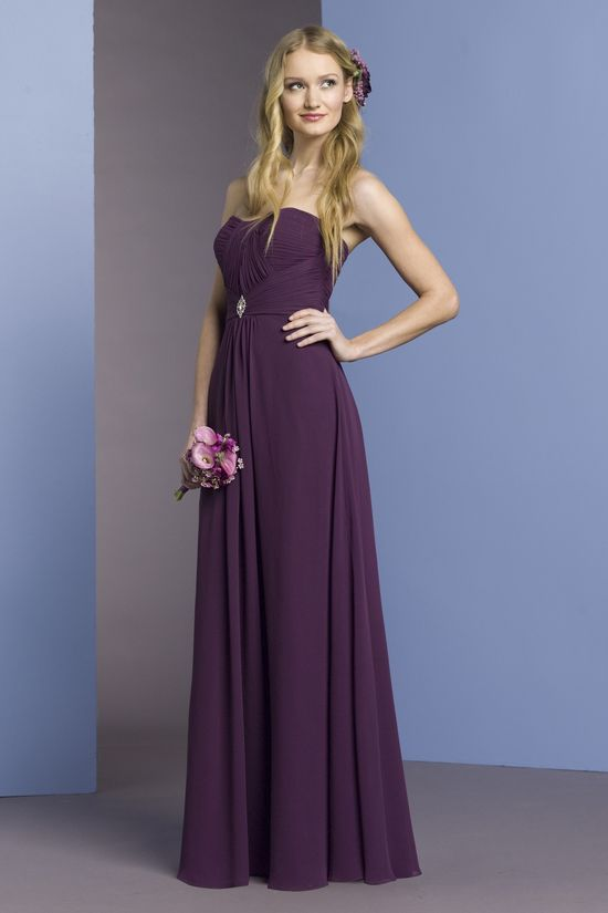 Strapless A-line chiffon bridesmaid dress. LOVE this color