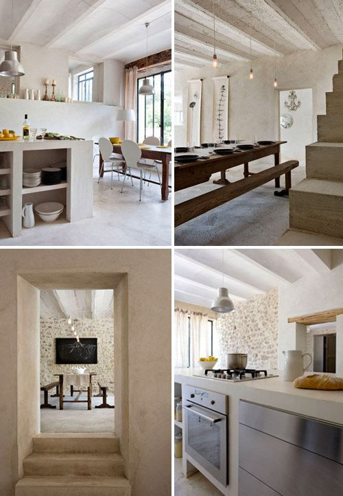 Love the white mixed with the stone and wood. I want a country farmhouse in France.