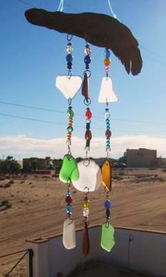Sea Glass Chimes/Suncatcher: I moved to Mexico about 3 years ago and live right near the beach.  When I was there I noticed a lot of sea glass and decided to collect it.    After a