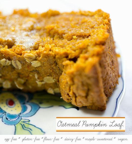 Oatmeal Pumpkin Bread for Fall. #vegan