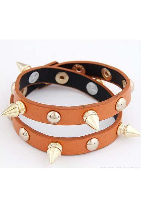 studded double leather bracelet