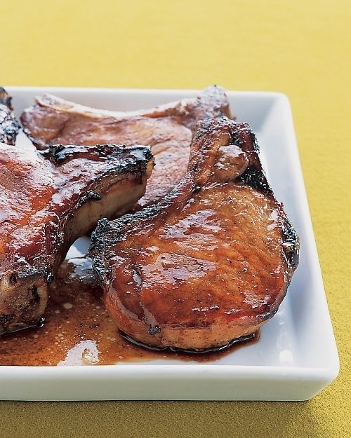 Marinated Pork Chops by marthastewart via buzzfed: MARINADE: soy sauce + hoisin sauce + garlic + honey + sugar + 1 to 24 hours. #Mariande #Pork_Chops #Soy_Sauce #Hoisin #Garlic #Honey